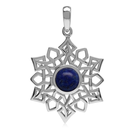 1.8 CT Natural Lapis Lazuli 925 Sterling Silver Celtic Knot Weave Snowflake Pendant