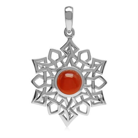 1.4 CT Genuine Carnelian 925 Sterling Silver Celtic Knot Weave Snowflake Pendant