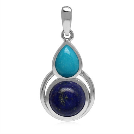 Genuine Lapis Lazuli and Arizona Turquoise 925 Sterling Silver Contemporary Geometric Pendant