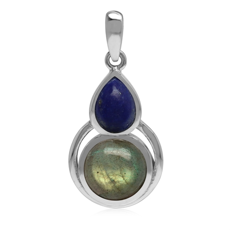 Natural Labradorite and Lapis Lazuli 925 Sterling Silver Contemporary Geometric Pendant