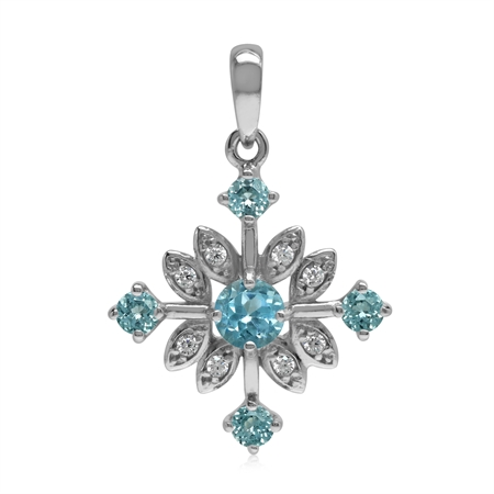 Genuine Swiss Blue Topaz 925 Sterling Silver Snowflake Pendant