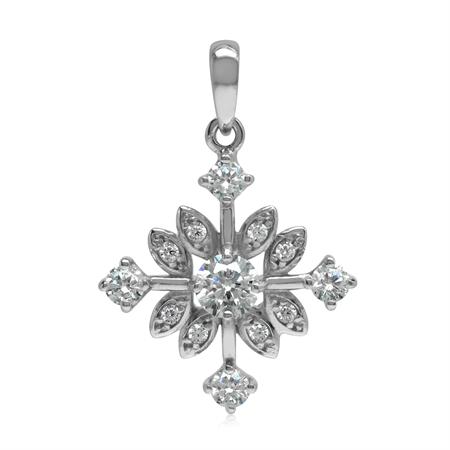 White CZ 925 Sterling Silver Snowflake Pendant