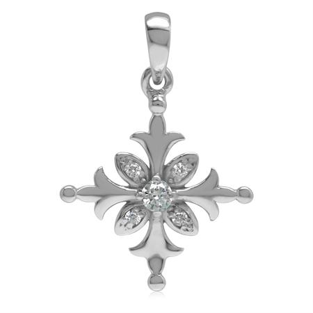 White Cubic Zirconia CZ 925 Sterling Silver Snowflake Pendant