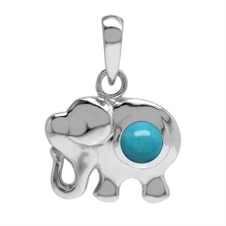 Genuine Blue Arizona Turquoise Stone 925 Sterling Silver Elephant Pendant