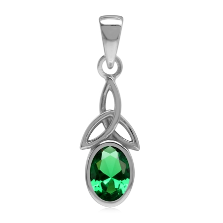 Nano Green Emerald 925 Sterling Silver Triquetra Celtic Knot Pendant
