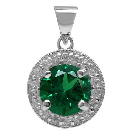 Round 7 mm Nano Green Emerald 925 Sterling Silver Halo Pendant