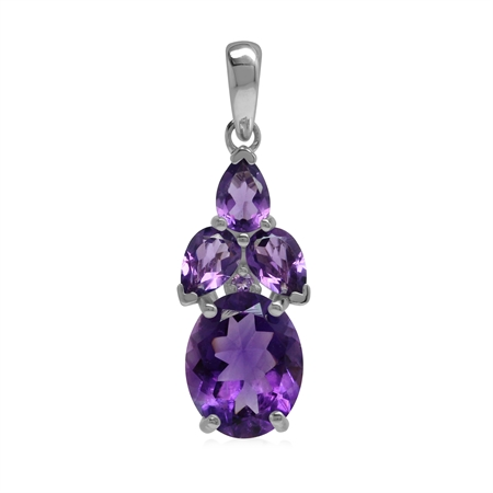 Classic Style 4.2 Ctw Genuine Purple Amethyst  Gem 925 Sterling Silver Cluster Pendant