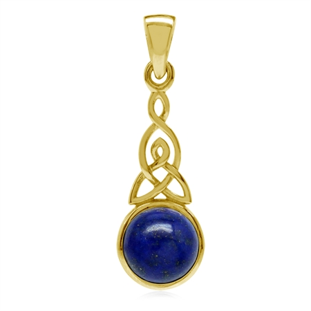 Natural Lapis Lazuli Yellow Gold Plated 925 Sterling Silver Triquetra Celtic Knot Pendant