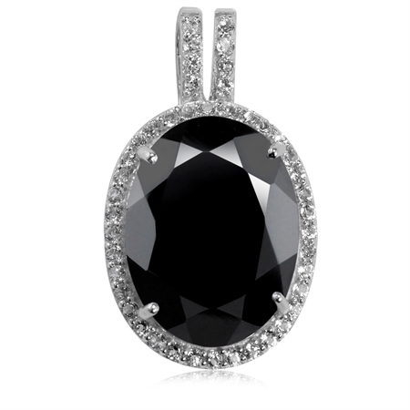 11 Ct Natural Black Onyx and Topaz White Gold Plated 925 Sterling Silver Pendant