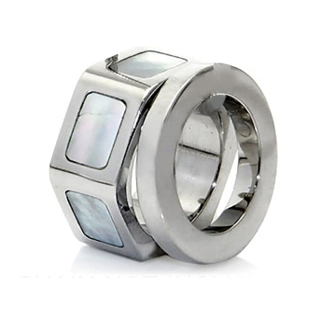 Stainless Steel w/Mother of Pearl 2-Ring Pendant