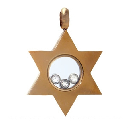 Copper Tone Stainless Steel Crystal Star Pendant