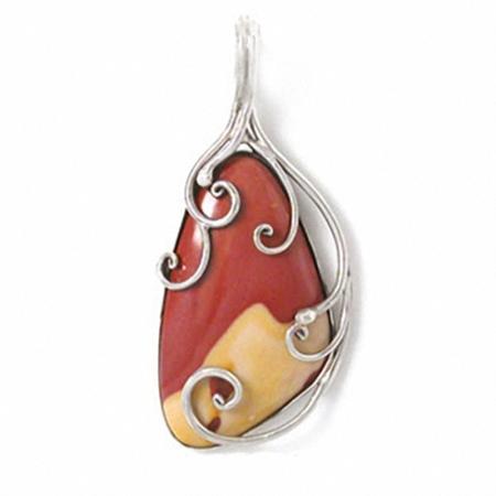 Handmade Genuine Mookite Jasper Sterling Silver Swirl Design Pendant