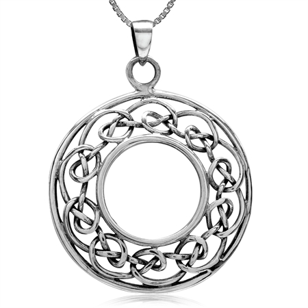 925 Sterling Silver Celtic Knot Circle Pendant w/ 18 Inch 1MM Box Chain Necklace
