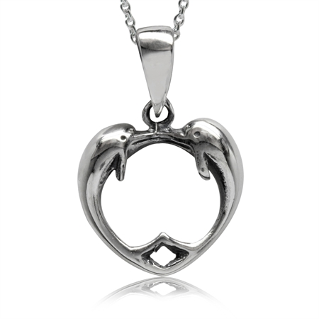 Twin Dolphin 925 Sterling Silver Heart Pendant w/ 18 Inch Chain Necklace