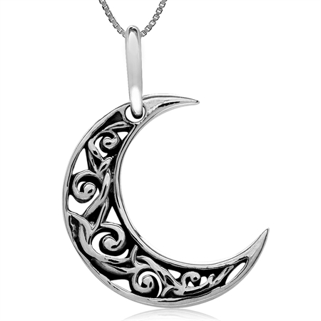 925 Silver Crescent Moon Filigree Pendant w/ 18 Inch 1MM Venetian Box Necklace