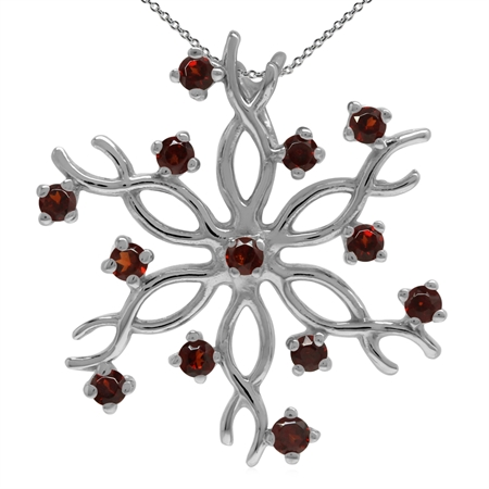 Natural Garnet 925 Sterling Silver Snowflake Pendant w/ 18 Inch Chain Necklace
