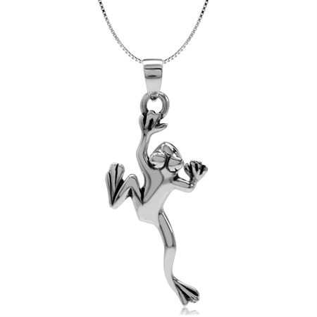 925 Sterling Silver Climbing Frog Pendant w/ 18 Inch Chain Necklace