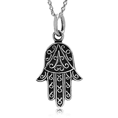 925 Sterling Silver HAMSA HAND Pendant w/ 18 Inch Chain
