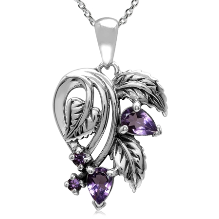 Natural Amethyst 925 Sterling Silver Leaf Vintage Style Pendant w/ 18 Inch Chain Necklace