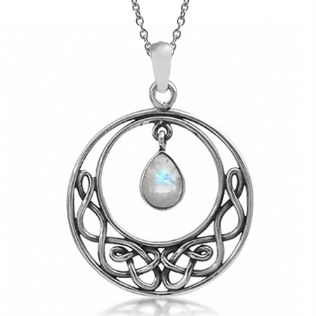 Natural Moonstone 925 Sterling Silver Celtic Knot Drop Dangle Pendant w/ 18 Inch Chain Necklace