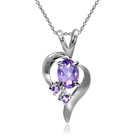 Natural Amethyst 925 Sterling Silver Modern Heart Pendant w/ 18 Inch Chain Necklace