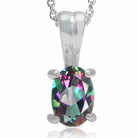 Mystic Fire Topaz 925 Sterling Silver Solitaire Pendant w/ 18 Inch Chain Necklace