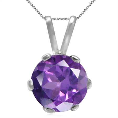 6MM Round Natural African Amethyst 925 Sterling Silver Solitaire Pendant w/ 18 Inch Chain Necklace