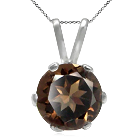 Natural Smoky Quartz 925 Sterling Silver Solitaire Pendant w/ 18 Inch Chain Necklace