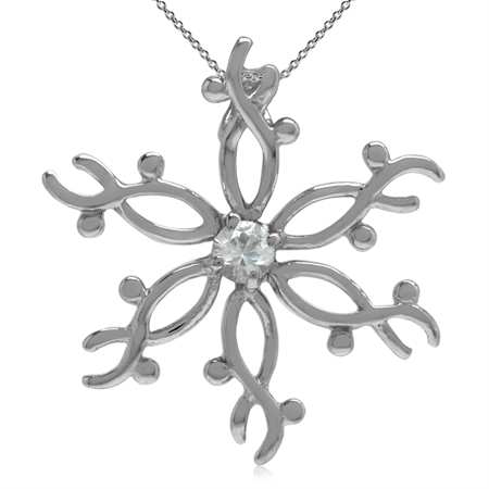 Natural White Sapphire 925 Sterling Silver Snowflake Pendant w/ 18 Inch Chain Necklace