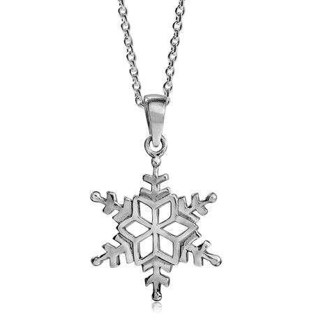 18MMx16MM 925 Sterling Silver Snowflake Pendant w/ 18 Inch Chain Necklace