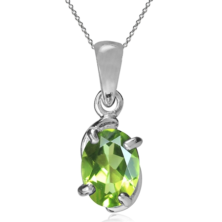 1.37ct. Natural Peridot 925 Sterling Silver Solitaire Pendant w/ 18 Inch Chain Necklace