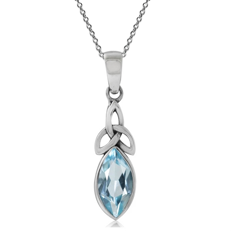 1.3ct. Genuine Blue Topaz 925 Sterling Silver Triquetra Celtic Knot Pendant w/ 18 Inch Necklace