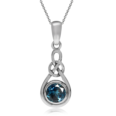Genuine London Blue Topaz 925 Sterling Silver Celtic Knot Drop Pendant w/ 18 Inch Chain Necklace