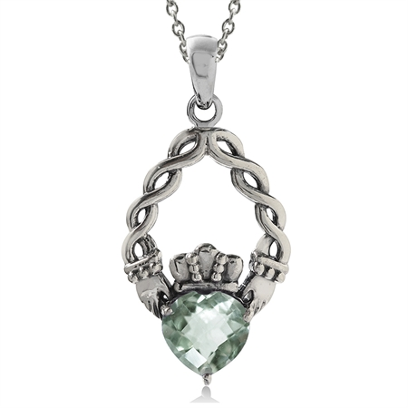 1.19ct. Natural Green Amethyst 925 Sterling Silver Claddagh Pendant w/ 18 Inch Chain Necklace