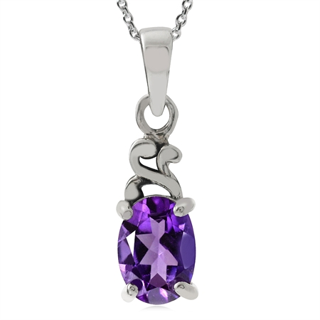 Natural African Amethyst 925 Sterling Silver Victorian Solitaire Pendant w/ 18 Inch Chain Necklace