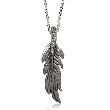 Natural White Diamond 925 Sterling Silver Feather Pendant w/ 18 Inch Chain Necklace