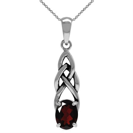 1.4ct. Natural Garnet 925 Sterling Silver Celtic Knot Solitaire Pendant w/ 18 Inch Chain Necklace