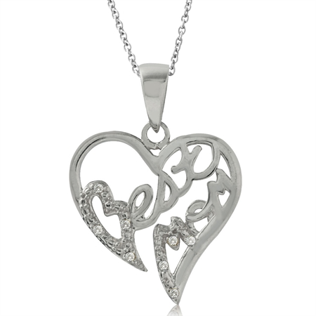 Natural Diamond White Gold Plated 925 Sterling Silver BEST MOM in Heart Pendant w/ 18 Inch Necklace