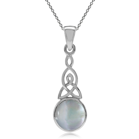White Mother of Pearl 925 Sterling Silver Triquetra Celtic Knot Pendant w/ 18 Inch Chain Necklace