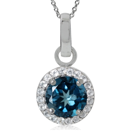 1.7ct. Genuine London Blue Topaz 925 Sterling Silver Classic Pendant w/ 18 Inch Chain Necklace