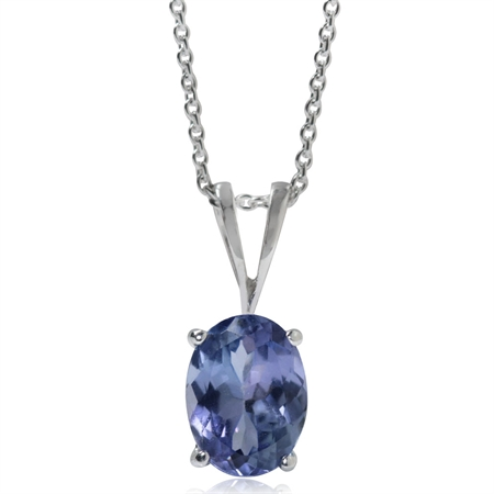 1.32ct. Genuine Tanzanite 925 Sterling Silver Solitaire Pendant w/ 18 Inch Chain Necklace