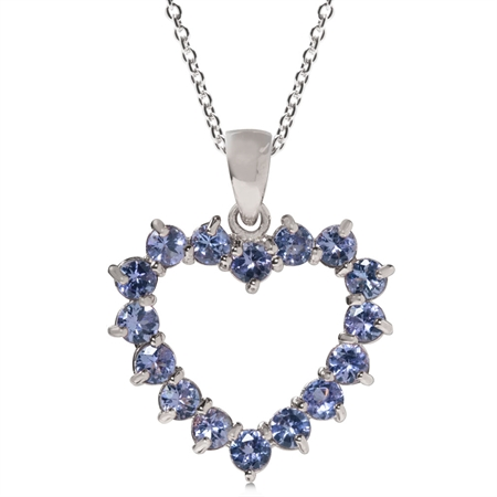 1.76ct. Genuine Tanzanite White Gold Plated 925 Sterling Silver Pendant w/ 18 Inch Chain Necklace