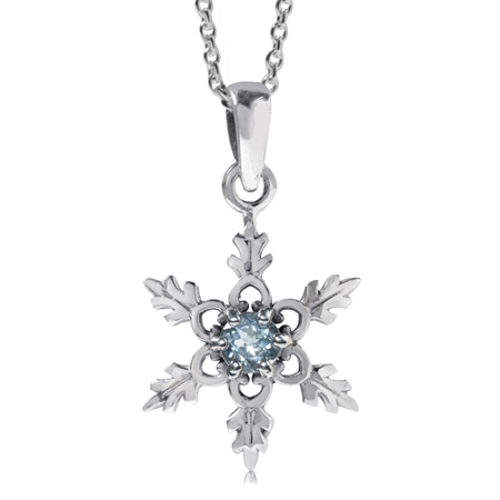 Genuine Blue Topaz 925 Sterling Silver Snowflake Pendant w/ 18 Inch Chain Necklace