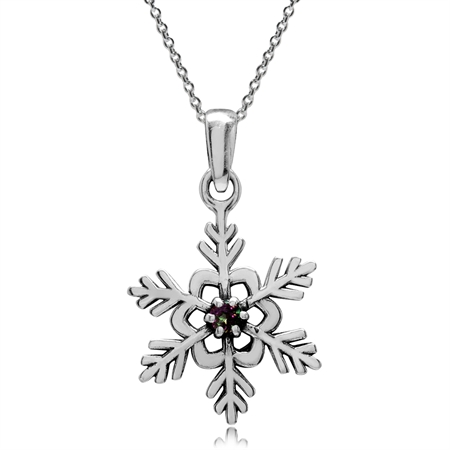 Mystic Fire Topaz 925 Sterling Silver Snowflake Pendant w/ 18 Inch Chain Necklace