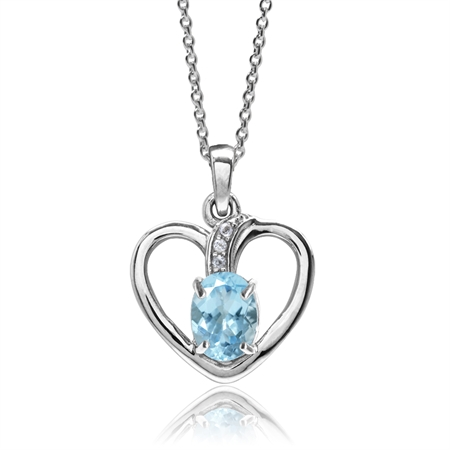 2.17ct. Genuine Blue Topaz White Gold Plated 925 Sterling Silver Heart Pendant w/ 18 Inch Necklace
