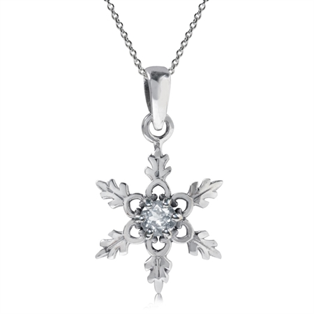 Genuine White Topaz 925 Sterling Silver Snowflake Pendant w/ 18 Inch Chain Necklace