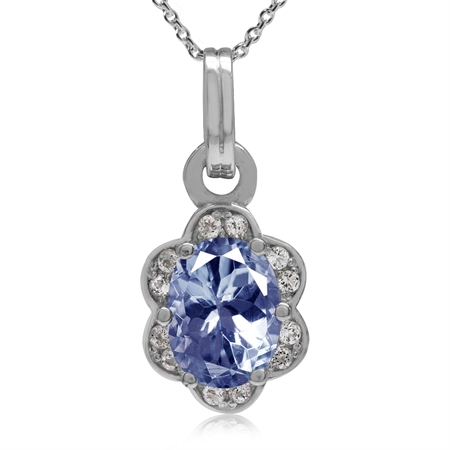 1.32ct. Oval 8x6MM Tanzanite Gold Plated 925 Sterling Silver Flower Pendant w/18