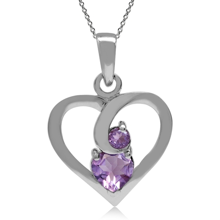 White Gold Plated 925 Sterling Silver Amethyst Heart Pendant w/ 18 Inch Chain Necklace