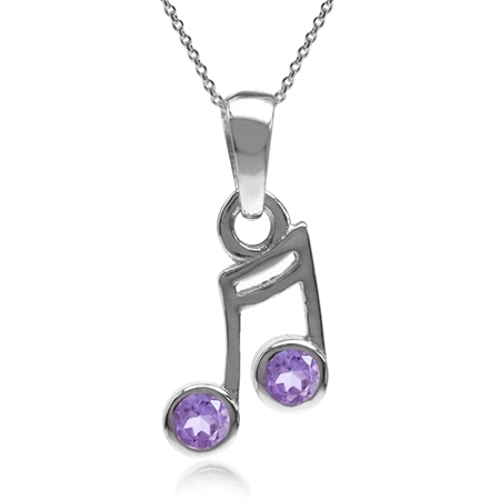 Natural Amethyst Gold Plated 925 Sterling Silver Musical Note Pendant w/ 18 Inch Chain Necklace