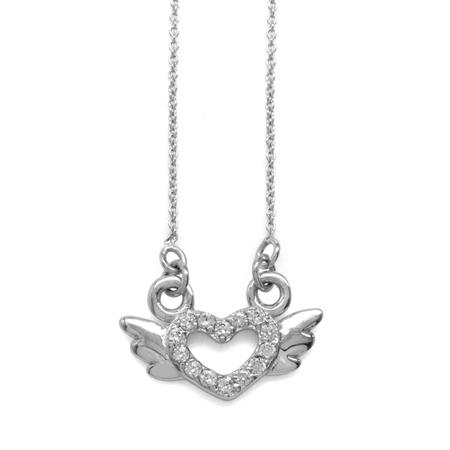 White CZ 925 Sterling Silver Angel Heart Teens/Girls Pendant w/ 15-16.5 Inch Adj. Chain Necklace
